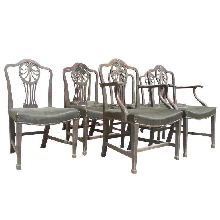 Set of Seven English George III Period Dining Chairs