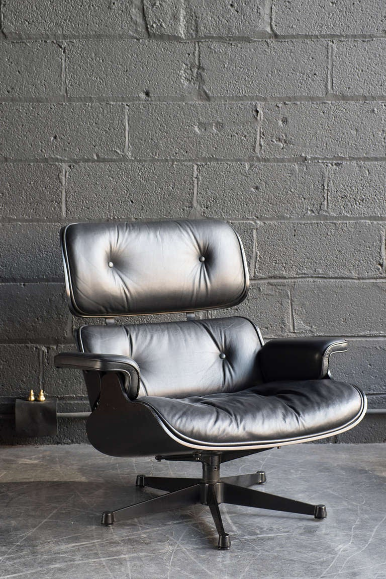 Rare Black On Black Eames Lounge Chair And Ottoman At 1stdibs