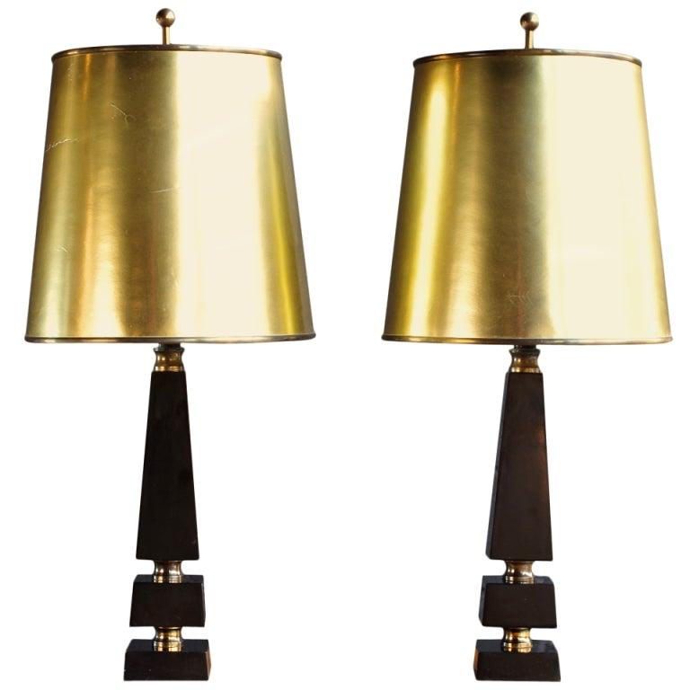 black and gold obelisk lamps at 1stdibs. Black Bedroom Furniture Sets. Home Design Ideas