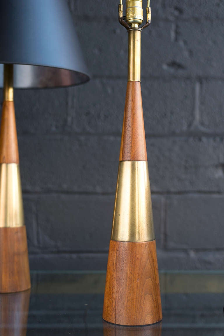 Wood And Brass Cone Lamps By Tony Paul At 1stdibs