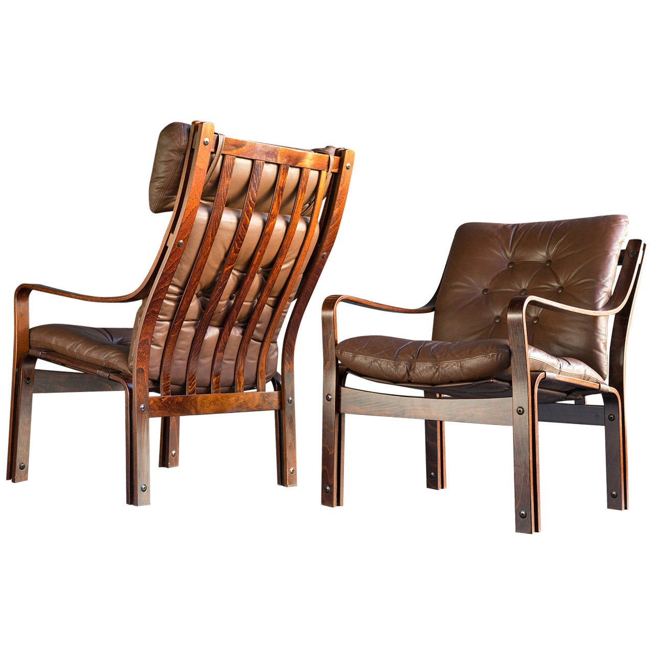 Scandinavian Modern Leather Lounge Chairs At 1stdibs