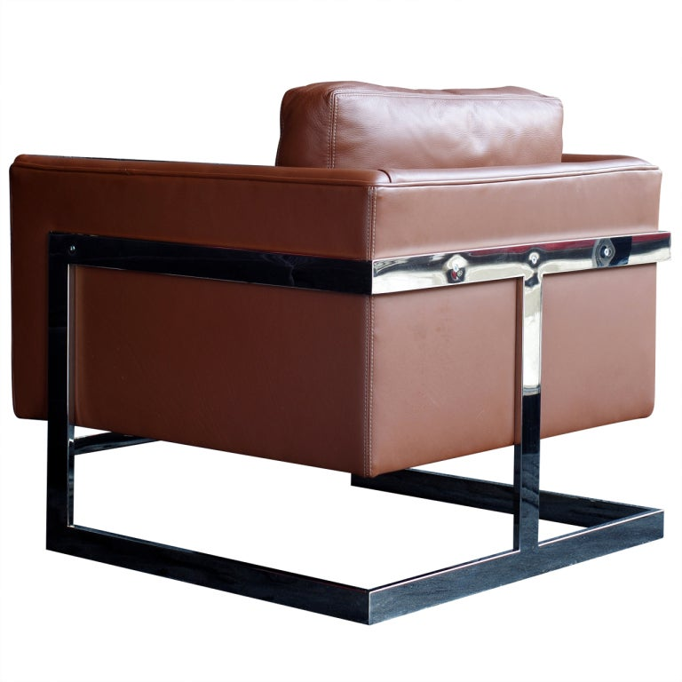 Milo Baughman Leather Cube Chair At 1stdibs