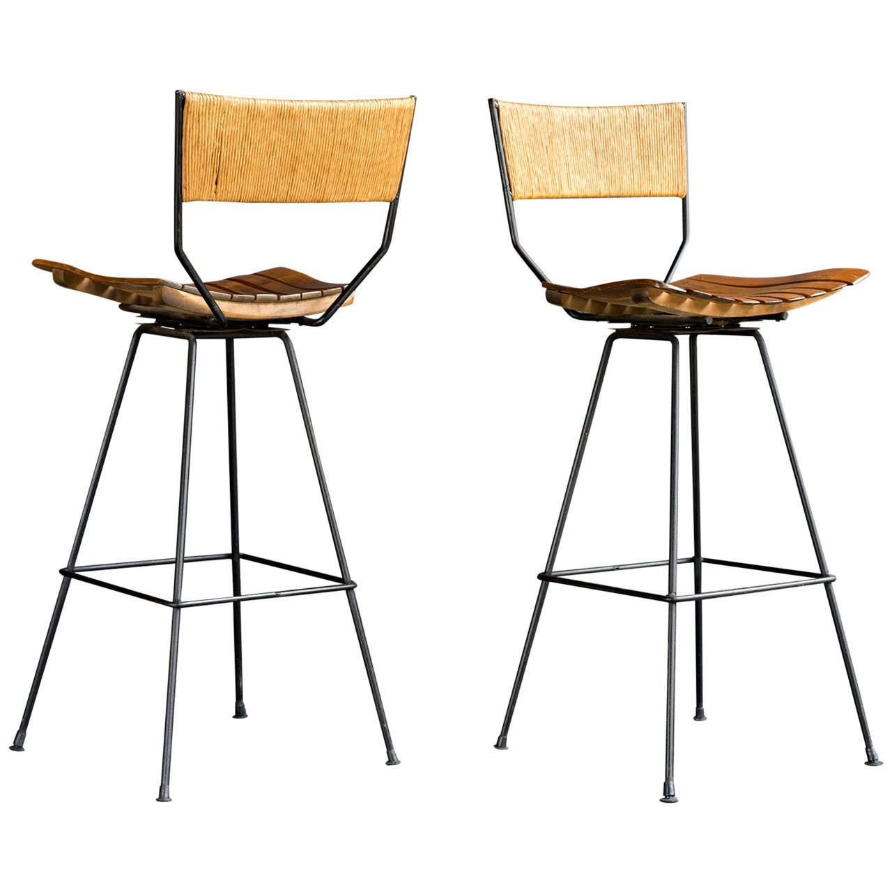 Arthur Umanoff Swivel Bar Stools At 1stdibs