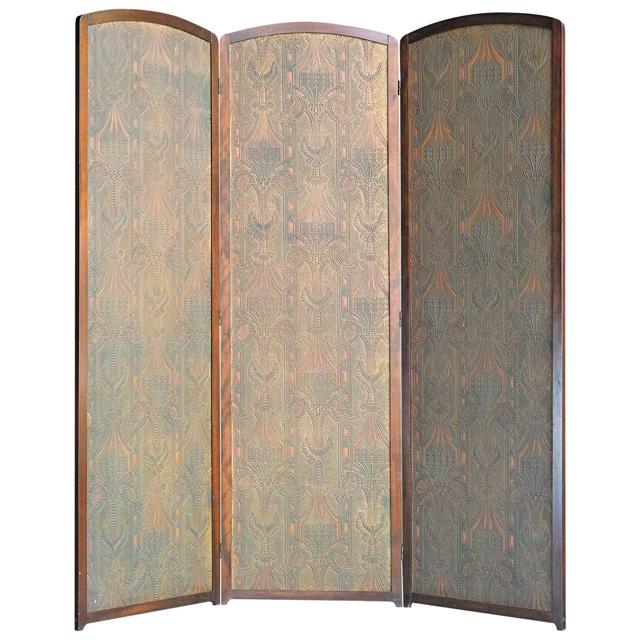 Three-Panel Folding Screen For Sale