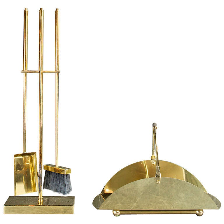 Brass Plated Fire Place Tools For Sale