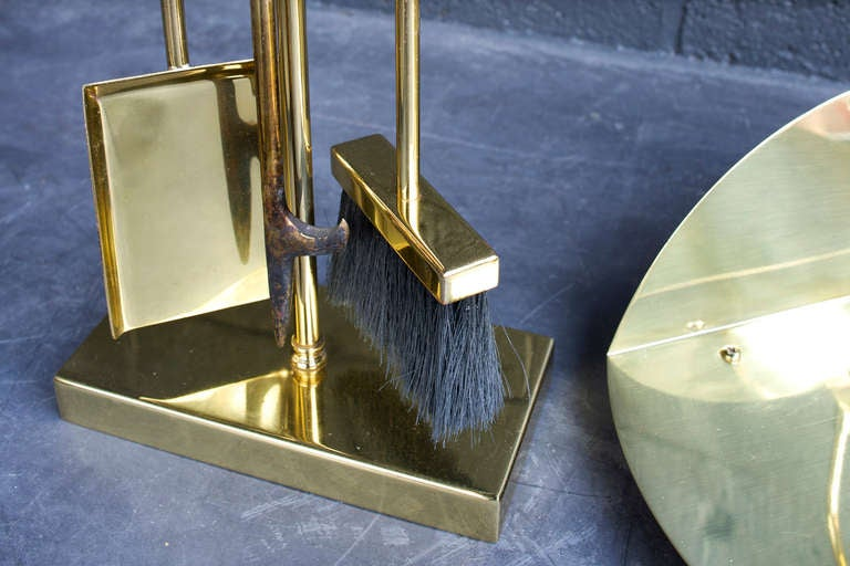 Brass Plated Fire Place Tools In Good Condition For Sale In Brooklyn, NY