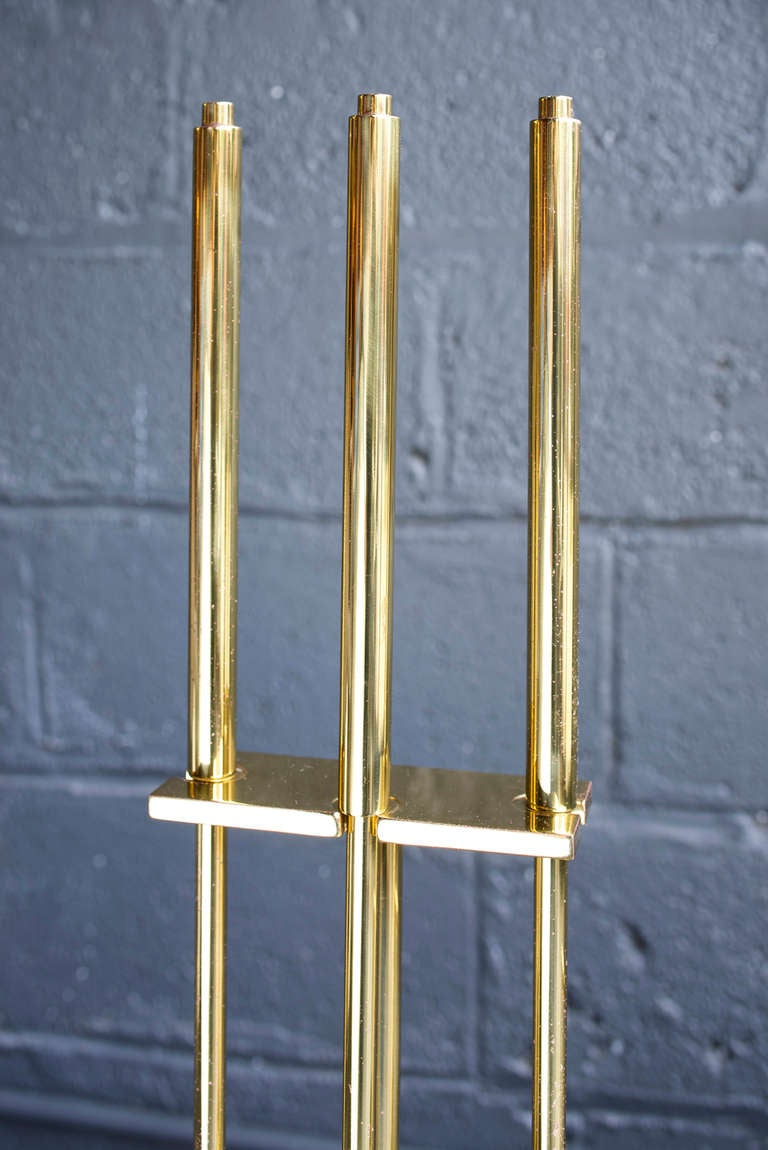 Modern Brass Plated Fire Place Tools For Sale