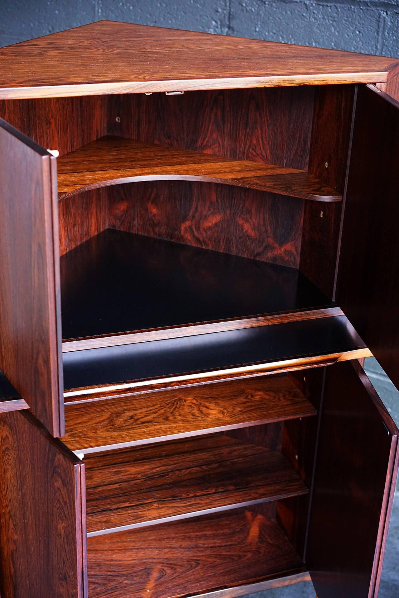 Rosewood danish corner cabinet or dry bar at 1stdibs
