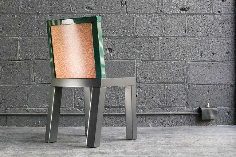 Charmingly chunky post-modern form with original gray lacquer seat, metallic green lacquer back frame and burl veneer back surface.  From the Donau Collection, manufactured by Franz Leitner.