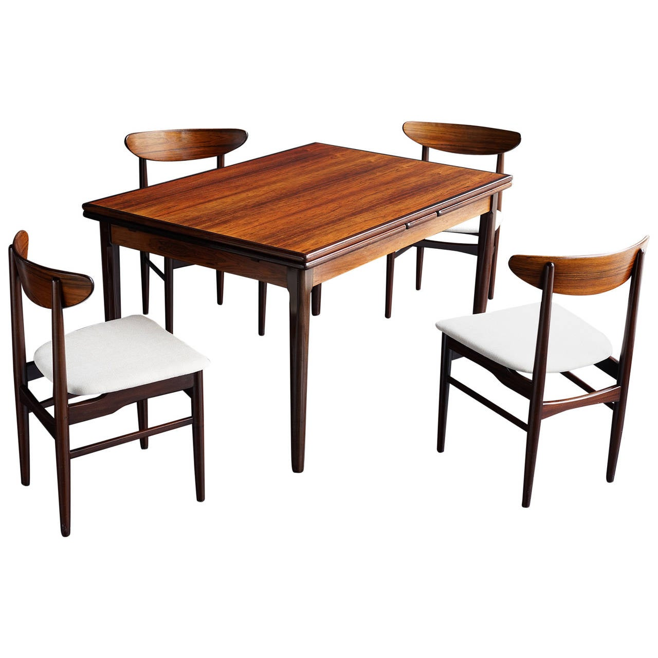 Danish modern rosewood dining set at 1stdibs for Modern dining room table sets