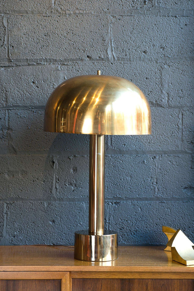 Metal mushroom lamp by laurel at 1stdibs warm brass finish with white interior aloadofball Images