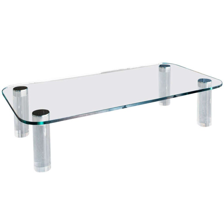 Glass & Lucite Coffee Table by Pace Collection 1