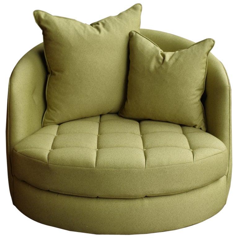 Milo Baughman Giant Swivel Tub Chair at 1stdibs