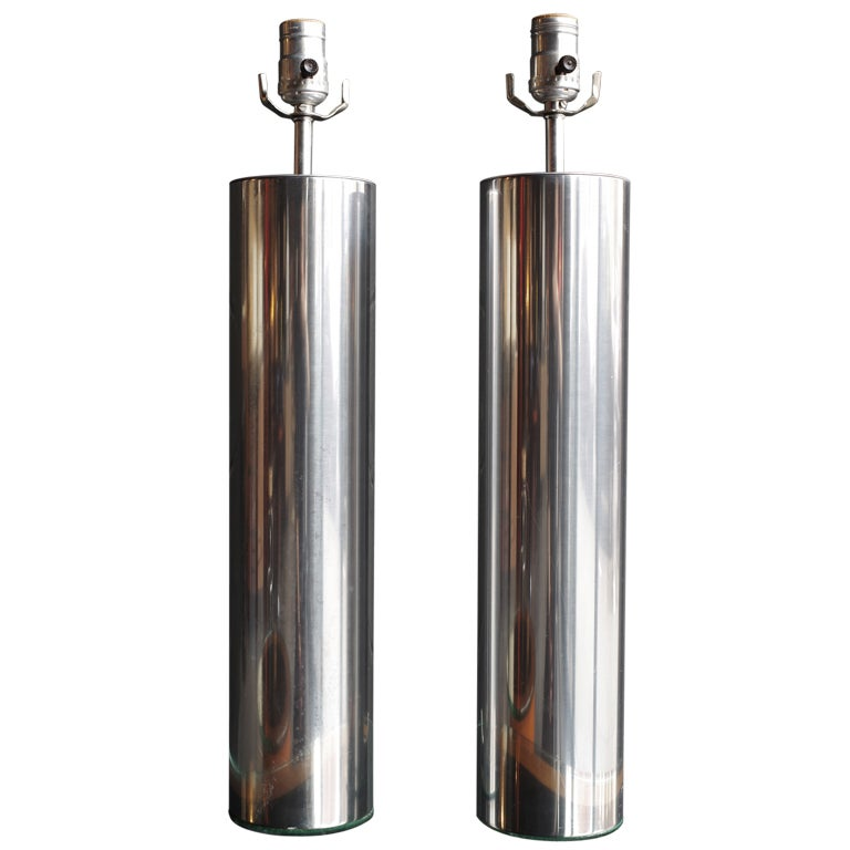 Pair Of Aluminum Cylinder Lamps At 1stdibs