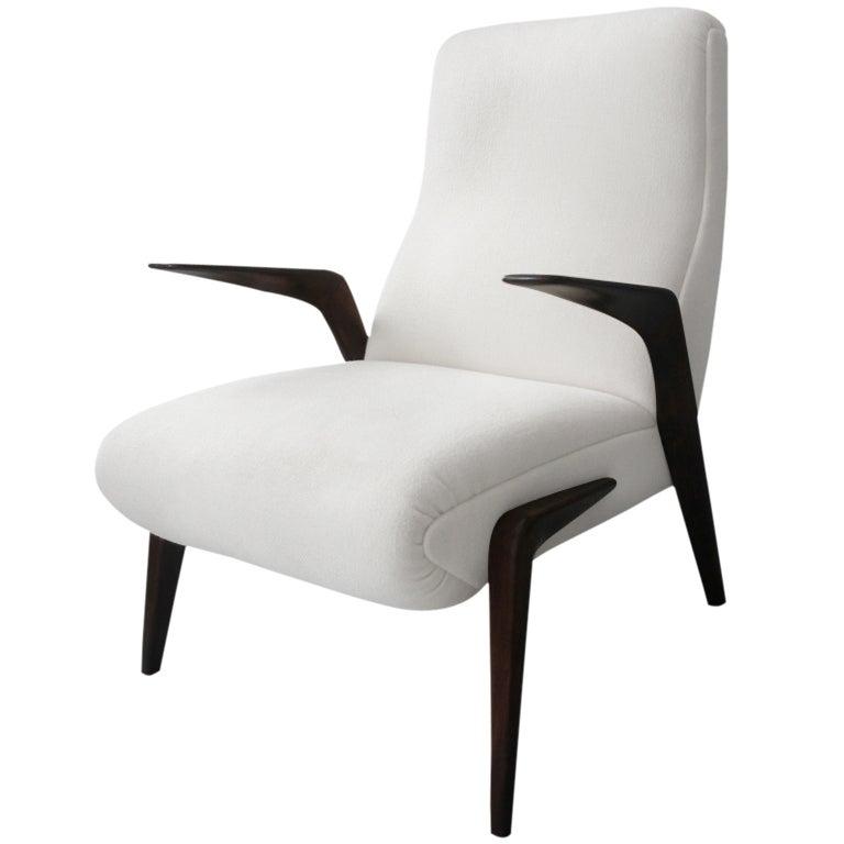 Single italian armchair attributed to osvaldo borsani at for Single armchairs