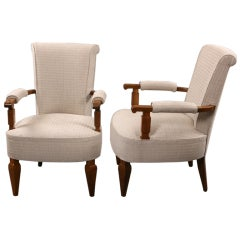 Pair of Jules Leleu Armchairs