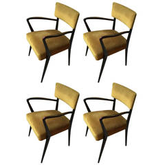 Four Beautiful Armchairs Designed by Carlo Enrico Rava, 1948