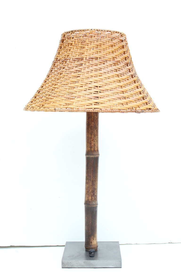 Pair Of Brent Witke Bamboo Lamps With Rattan Shades At 1stdibs