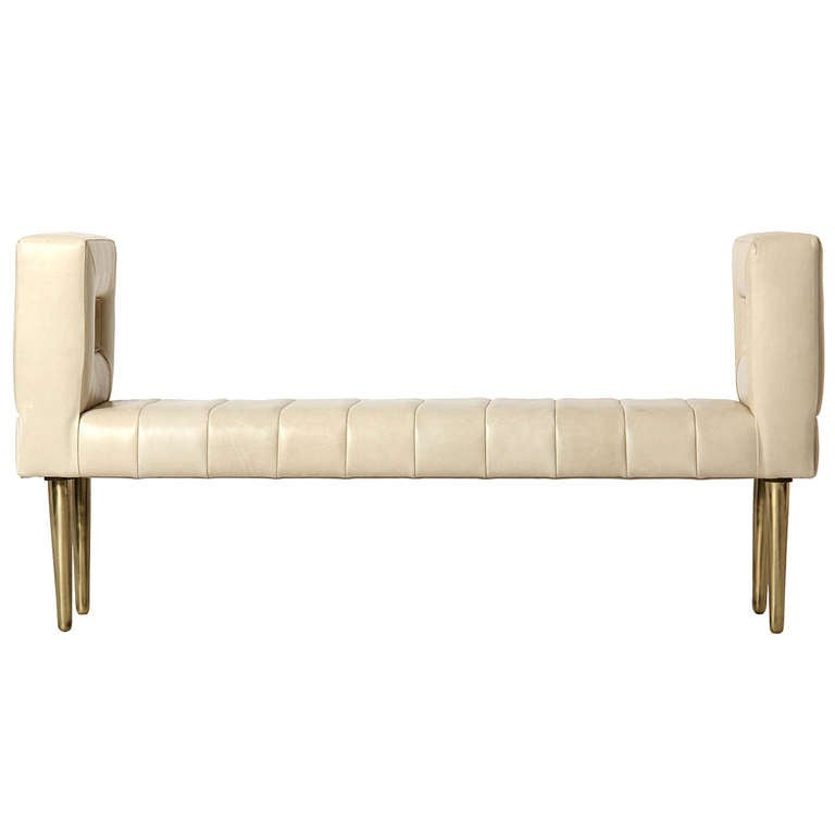 White Leather Bench By Edward Wormley At 1stdibs
