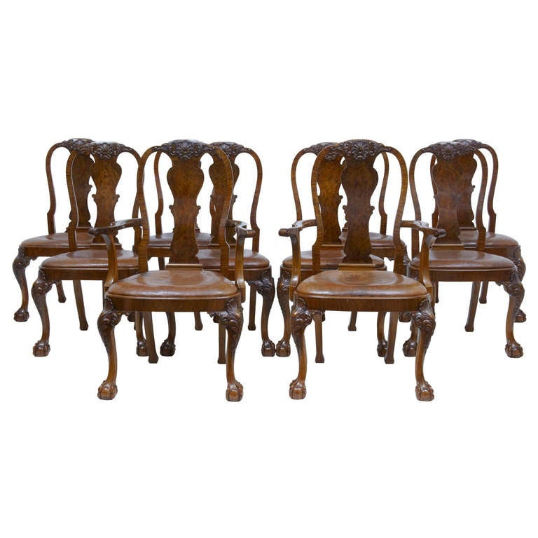 Early 20th century queen anne influenced set of walnut for Dining room queen anne
