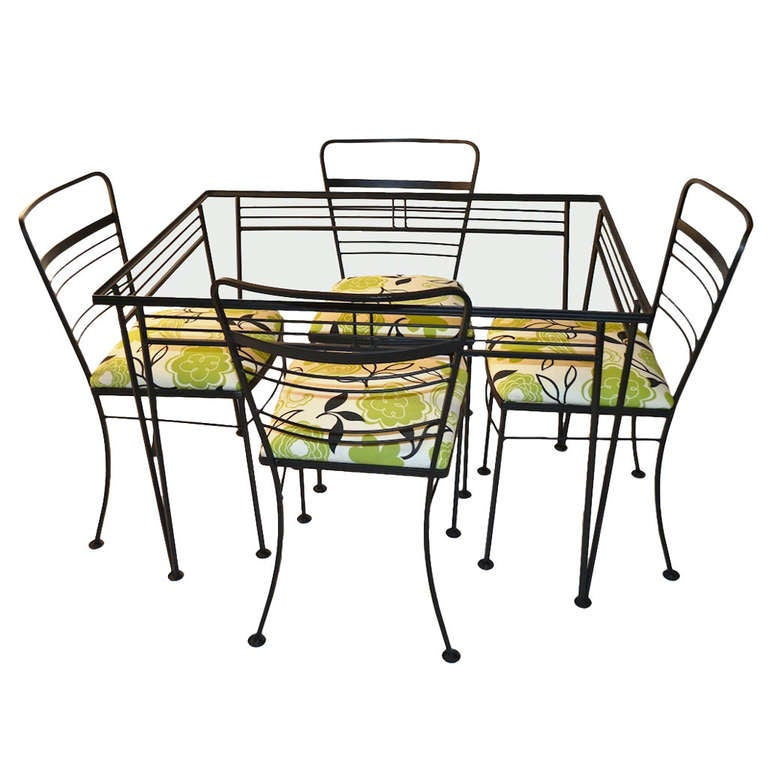 5 Piece Salterini Patio Set Glass Top Table And 4 Chairs At 1stdibs