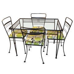 5 Piece Salterini Patio Set  Glass Top Table and 4 Chairs