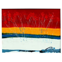 Large Vintage Expressionist Landscape Painting