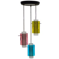 1950's Italian Suspension Pendant Tri Cylinder Colored Glass