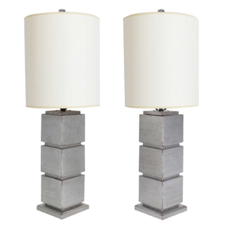 Pair of Silver Leaf Cube Lamps