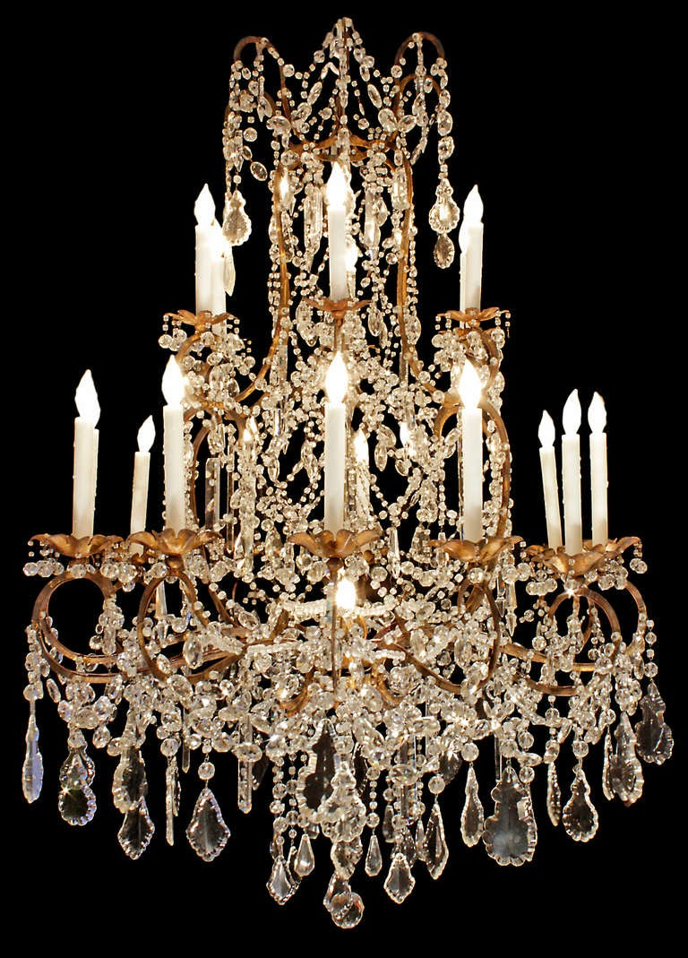 Italian late 18th or early 19th century patinated gilt metal and a sensational large scale italian late 18th early 19th century patinated gilt metal and crystal chandelier arubaitofo Image collections