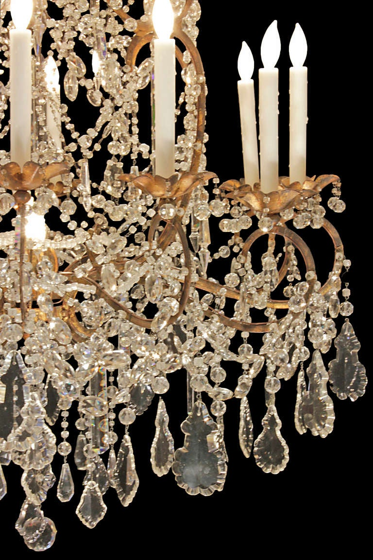 Italian Late 18th or Early 19th Century Patinated Gilt Metal and Crystal Chandelier 3