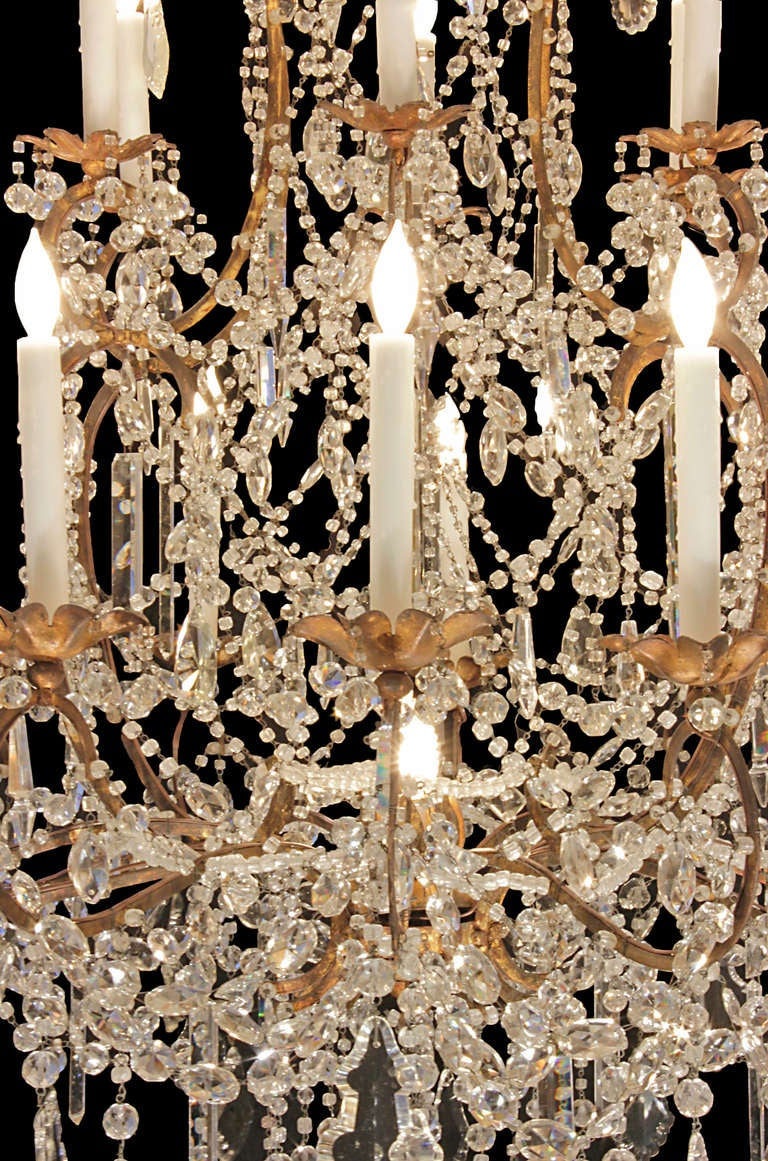 Italian Late 18th or Early 19th Century Patinated Gilt Metal and Crystal Chandelier 4