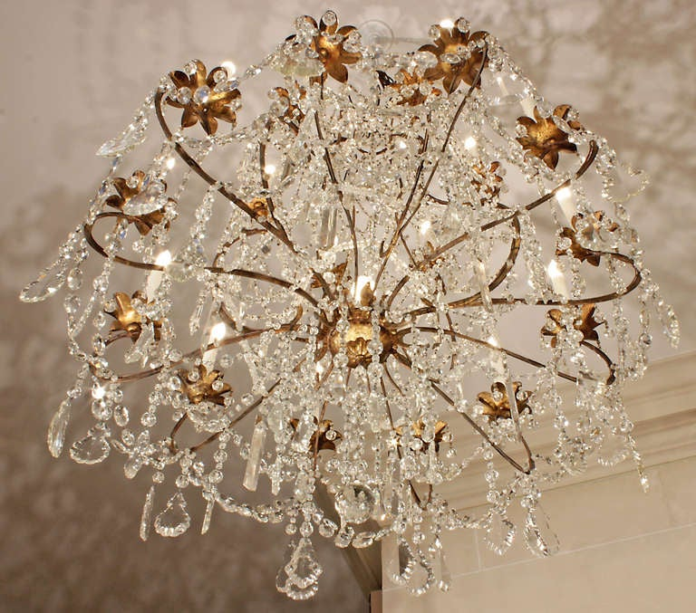 Italian Late 18th or Early 19th Century Patinated Gilt Metal and Crystal Chandelier 6