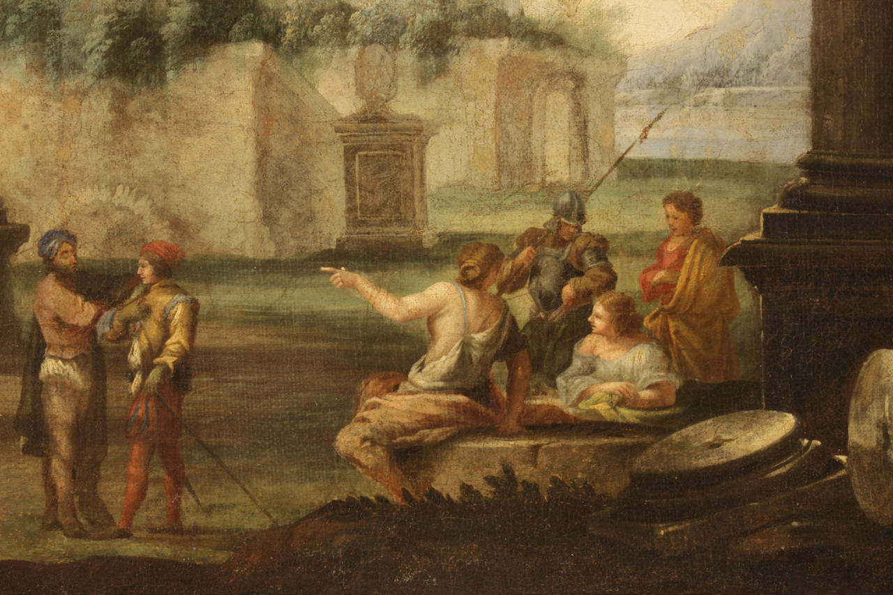 Pair Of Italian 18th Century Neoclassical Style Oil On