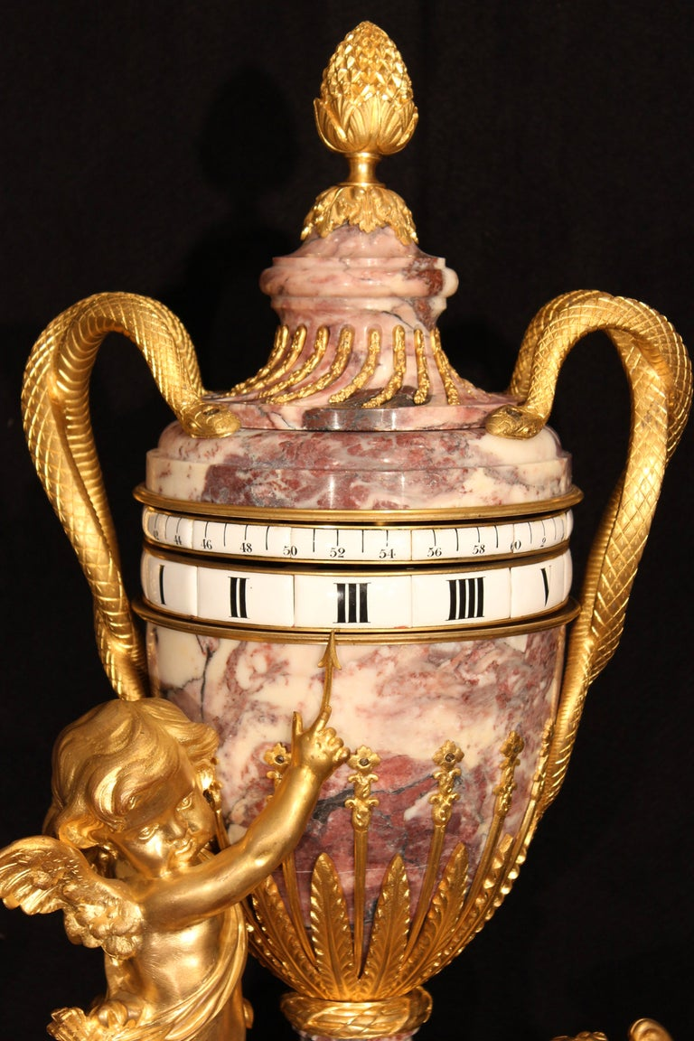 French 19th Century  Louis Xvi St. Marble And Ormolu Annular Clock  In Excellent Condition For Sale In West Palm Beach, FL