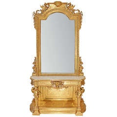 Italian Mid 19th Century Giltwood and White Carrara Marble Console with Matching Mirror