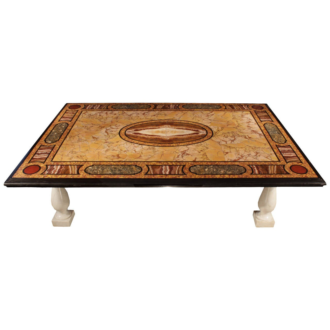 Italian Coffee Tables Marble Italian 19th Century Pietra Dura Marble Plateau Coffee Table At