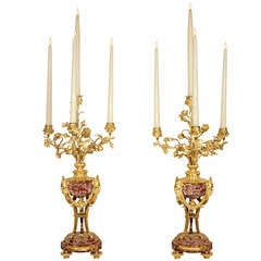 A Pair of French 19th Century Ormolu and Fleur de Pêcher Marble Candelabras