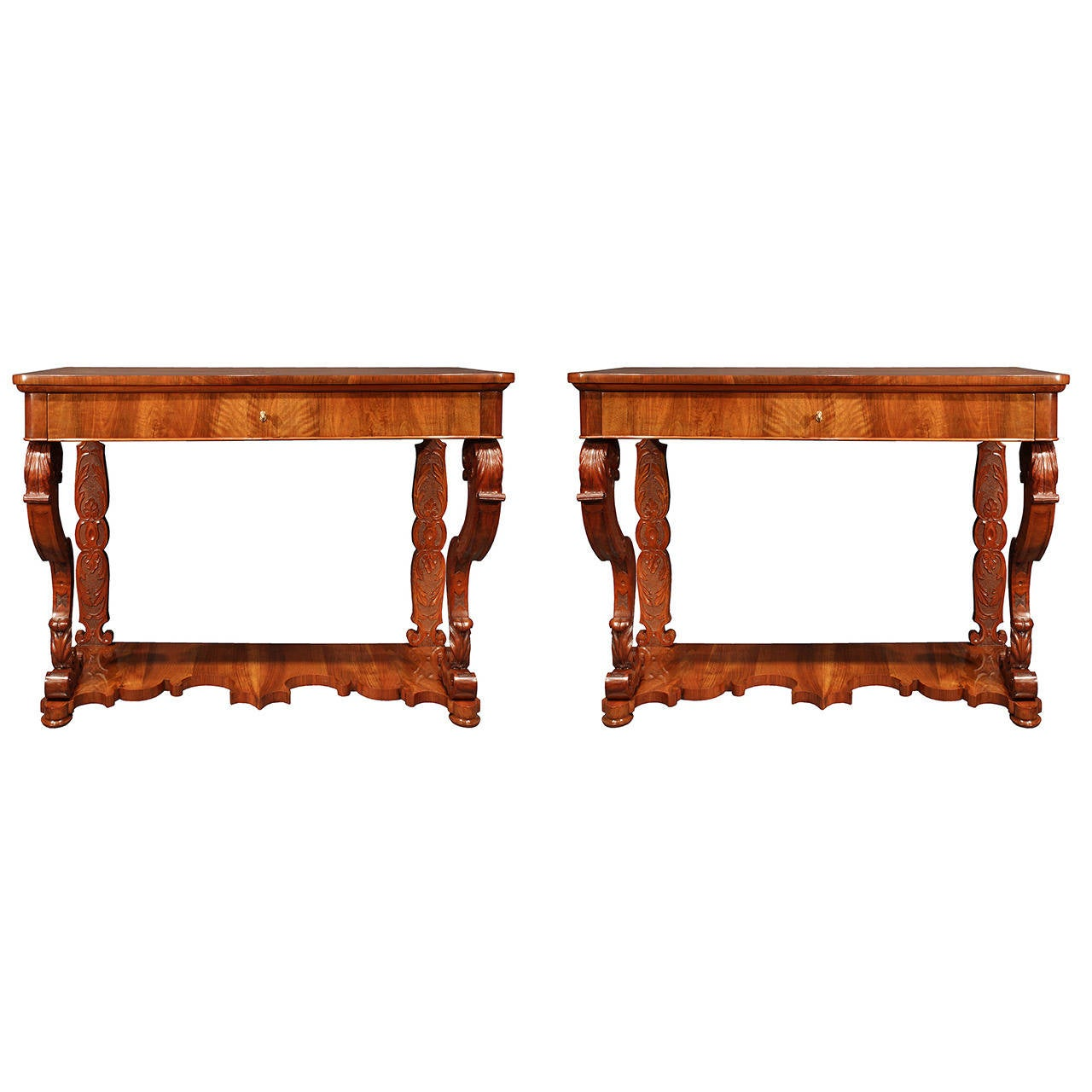 Pair of Italian 19th Century Charles X Style Walnut Console Tables