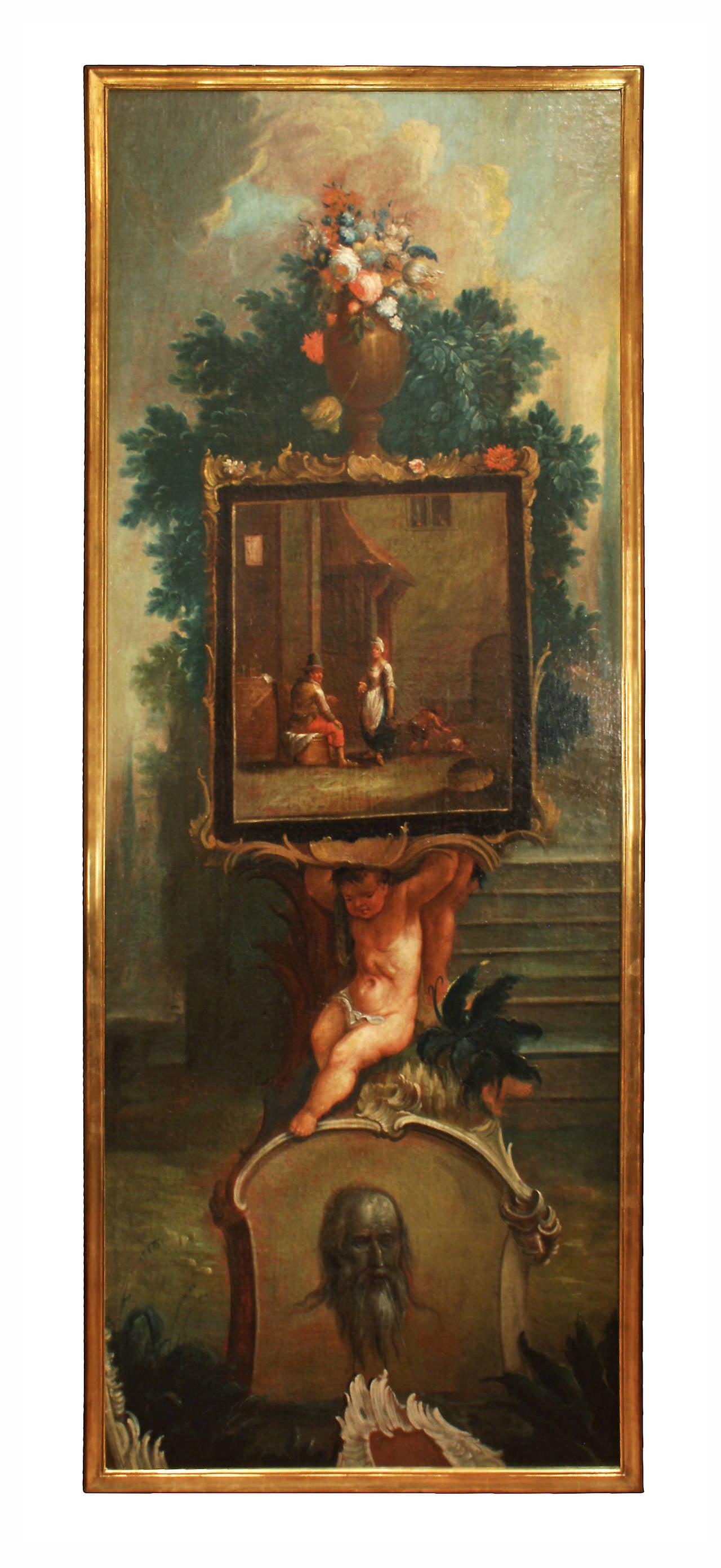 Baroque 18th Century Flemish Oil On Canvas Paintings For