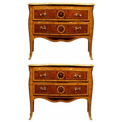 A Pair Of Italian Mid 18th Century Louis XV Period Cherry Wood Commodes, From Naples