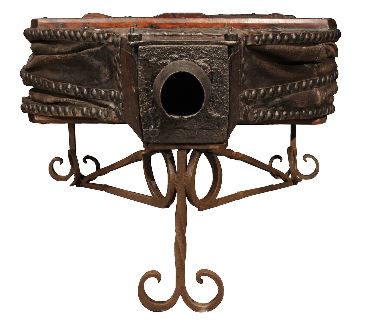 French 19th Century Bellow In Dark Oak Coffee Table With The Original Leather At 1stdibs