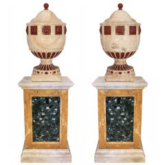A Pair of Italian 19th Century Alabaster of Fiorino and Red Quartzite Urns and Marble Pedestals