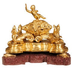 French 17th Century Louis XIV Period Ormolu and Porphyry Inkwell