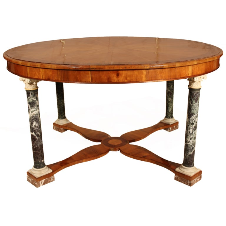 Italian Early 19th Century Walnut and Marble Center Table