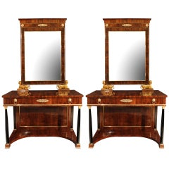 A Pair Of 19th Century Italian Neo-classical St. Consoles & Matching Mirrors