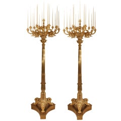 A pair of French late 19th century Neo-Classical st. ormolu torchieres