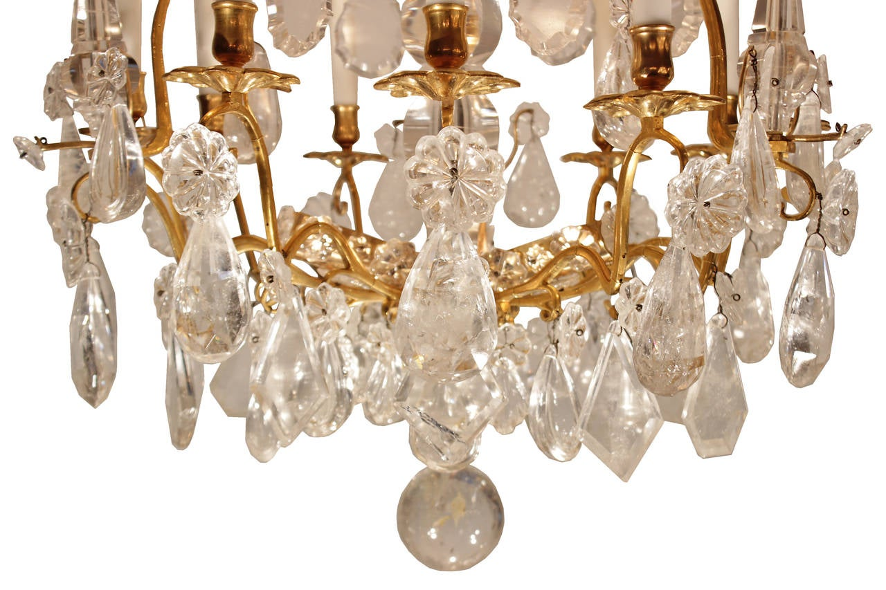 French Mid 18th Century Louis XV Period Rock Crystal And Ormolu Chandelier 3