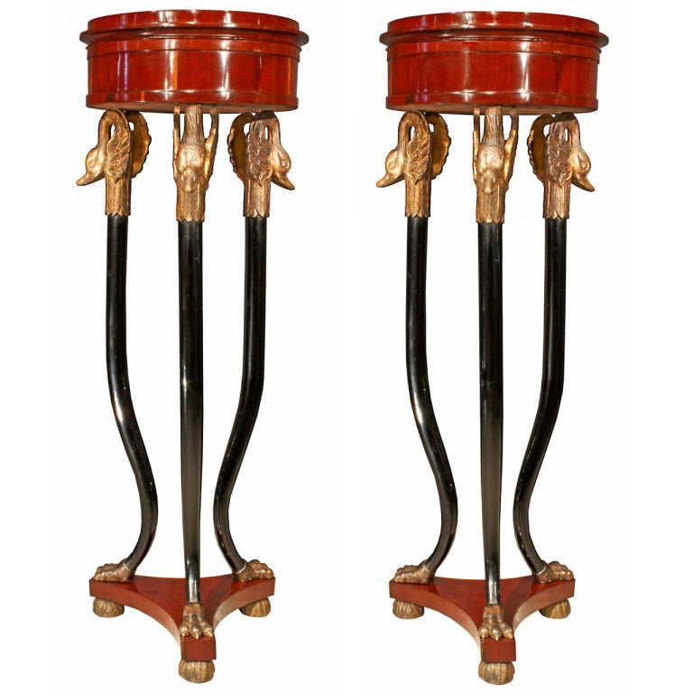 A Pair of Italian Early 19th Century Neoclassical Style Mahogany and White Carrera Marble Pedestals