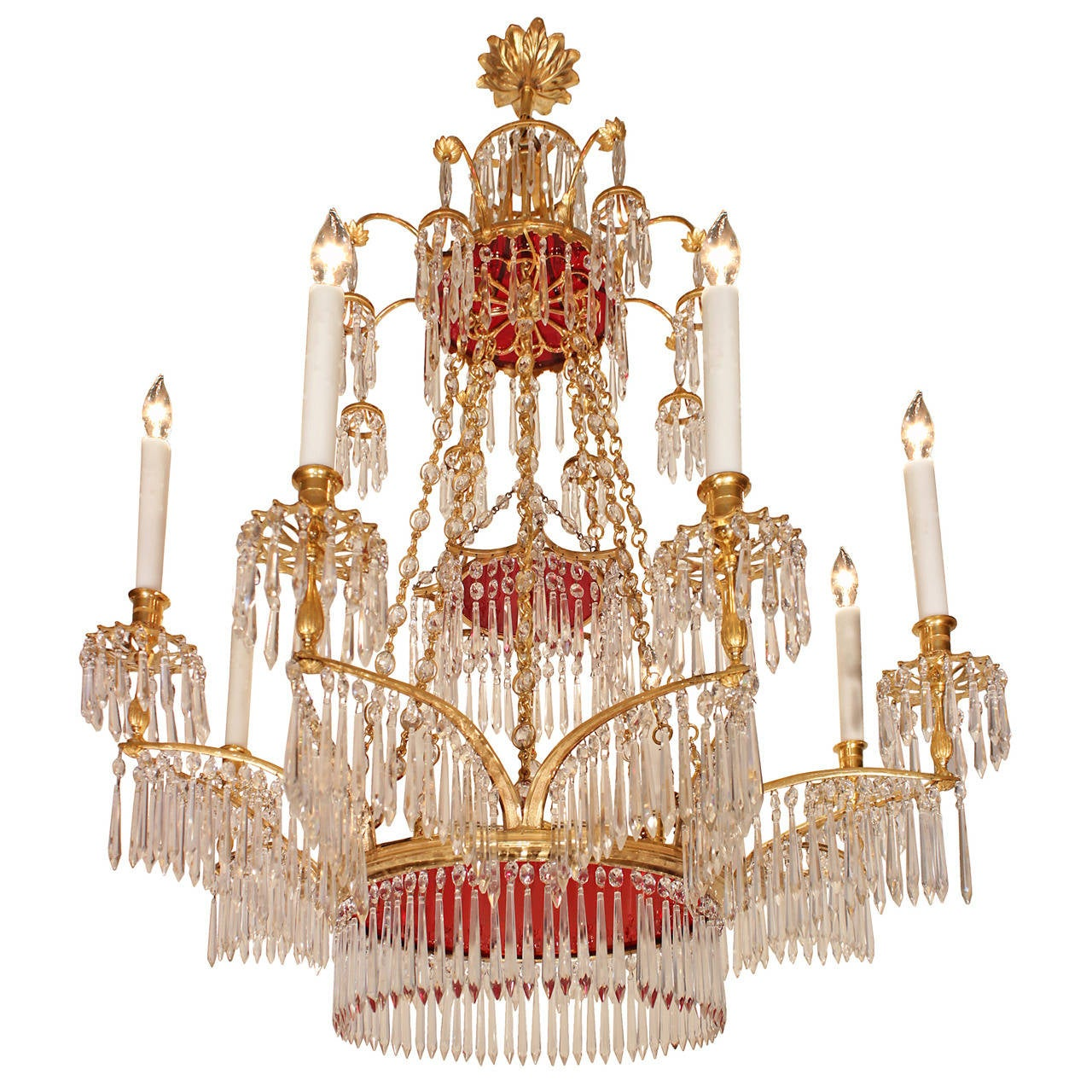 Russian Neo-Classical Style Crystal and Ormolu, Eight-Light ...